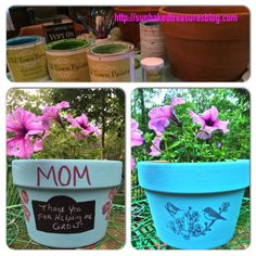 A little project we did for Mother's Day but, could be for anytime. Just painted clay pots. Used chalkboard paint to make a little area to write.