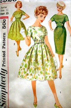1950s Vintage Pattern Simplicity 2929 Full Skirt Dress
