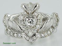 Claddagh engagement ring w/ wedding band. <3 LOVE IT.