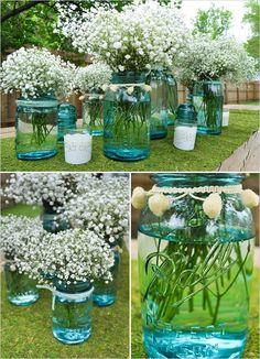 ball jars, blue mason jars, babies breath, masons, tinted mason jars, pom pom, wedding centerpieces, flower, babi breath