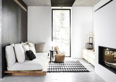 neutral low seating futon grey living room