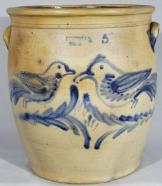 "Very Rare Five-Gallon Stoneware Jar with Double Bird Decoration, Stamped ""J.B. PFALTZGRAFF / YORK, PA,"" circa 1875, ovoid jar with handles, decorated with two large birds perched in opposing branches."