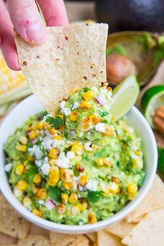 corn and cotija guacamole. feta guacamol, appet, dip, food, delici, guacamole, eat, recip, corn