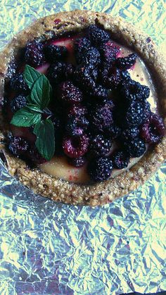RECIPE: Sumac-Spiced Lemon Curd Tarts: Almond Thyme Crust with Strawberries & Walnut Brown Sugar Crust with Black Raspberries