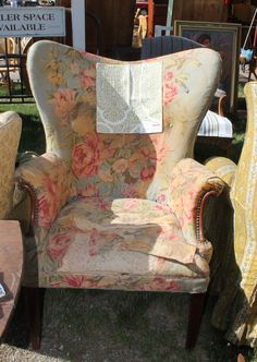 Love to see this chair with Robert Allen baytown fabric in colorway lemongrass #Brimfield