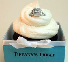 DIY Tiffany cupcake in a box. All you need are blue craft boxes, a computer, white ribbon and costume jewelry rings. Great bridal shower idea. drusilla