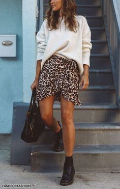 Leopard skirt - sweater - fall fashion #summerstyle #ootd