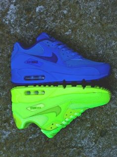 Blue and lime green Nike Air Max