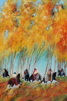 """Autumn Changes"" by Bruce King. #art #fineart #painting #arttovisit #gallery #painter #artist #artalive #lifeofanartist #supportart #santafe #newmexico #canyonroad #okeeffecountry #newmexicotrue #southwest #fall #autumn #seasons #orange #leaves #horses #caballeros #caballos #riders #indian #nativeamerican #oneida"