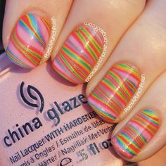 PackAPunchPolish: Neon Striped Water Marble...