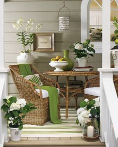 Spring Green, Gray and white cottage porch