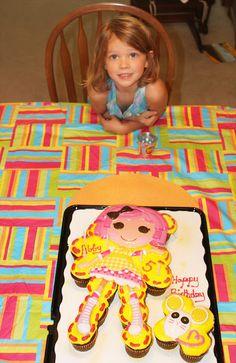 lalaloopsy cake made of cupcakes from walmart!