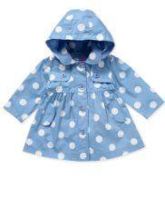 Carolina blue polka dot rain jacket for a little Tar Heel girl