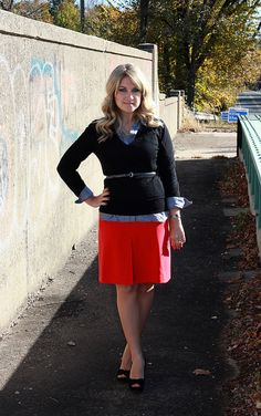 Red skirt red chambray, dress shirts, skirt black, sweater dresses, black sweater, denim shirts, red skirt, blog, 95 style