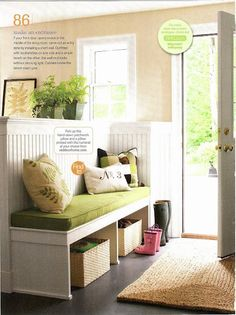 We could lay an ikea bookshelf on its side to make this. Great idea for the mud room