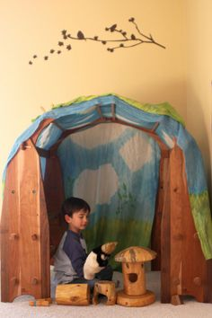 tent area and wooden waldorf toys