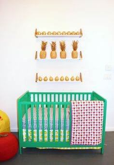 We're seeing fruit everywhere! And we love this kelly green Carousel Crib {@Matty Chuah Land of Nod's Fall Collection}