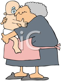 iCLIPART - Royalty Free Clipart Image of an Older Woman Holding a Baby