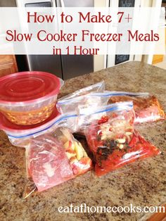 Make 7+ slow cooker Freezer Meals in 1 Hour