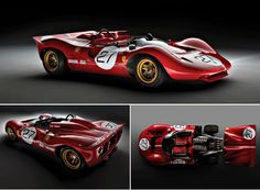 1967 Ferrari 330 P4. Body styled by Piere Drogo. Type 237 60º V12, DOHC, 3 valves/cyl, 3967cc/242.1cu.in., 335.6kw/450.0bhp @8000 rpm. 792kg/1746lbs. Only 4 built (one is a P3/4).