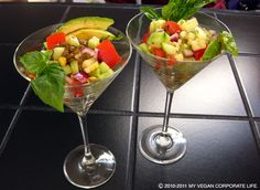 I really like the martini glass presentation  for Danie's Summer Lentil Salad!