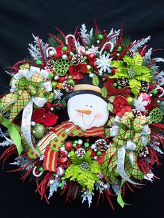 Happy Snowman Lime Green & Red Christmas Winter Wreath. $159.95, via Etsy.