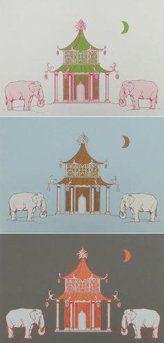 Elephant Pagoda Wallpaper by Katie Ridder