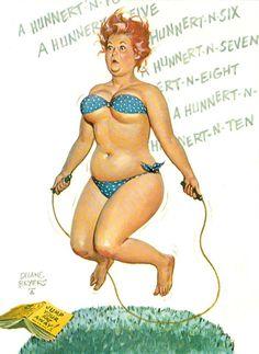 Hilda - getting some exercise by skipping, blue bikini