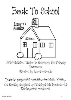 98 pages Back to school for Kindergarten School Unit