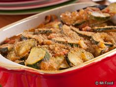 Italian Zucchini Bake - Put your seasonal produce to use with this veggie side dish that's perfect for summer potlucks! Plus it cooks up in under an hour!