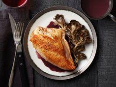Roast Chicken and Mushrooms With Red Wine Sauce Recipe : Food Network Kitchen : Food Network - FoodNetwork.com