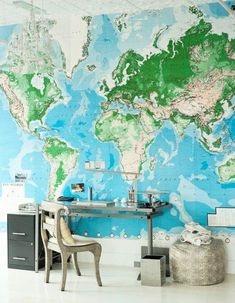 office spaces, dream, office walls, kid rooms, world maps, mural, desk, homes, home offices