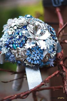 Wedding brooch bouquet DAZZLING BLUE II -  bridal bouquet made with vintage brooches, earrings and more - blue and silver