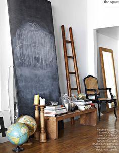 large leaning chalkboard