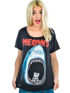 "Women's ""Meows"" Scoop Neck Tee by Too Fast (Black) #InkedShop #meows #shark #kitten #tee #top #style #fashion #womenswear #womensclothing"