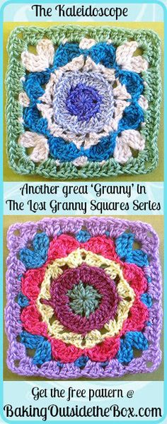 http://bakingoutsidethebox.com: A new installment of the Lost Granny Squares Series; the Kaleidoscope Pattern