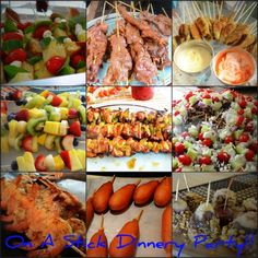 "A ""Food on a stick"" party!  I love this idea! How fun would this be for a potluck?!"