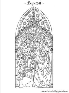 Feast of Pentecost Catholic coloring page.  The Holy Spirit descends on the 12 Apostles.
