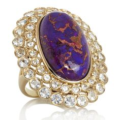 Rarities: Fine Jewelry with Carol Brodie Purple Mohave Turquoise and White Topaz Vermeil Ring at HSN.com