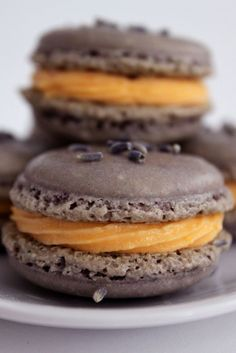 Lavender Macarons with Orange Honey Buttercream Filling