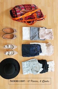 How to Pack Light: 12 Pieces, 8 Looks