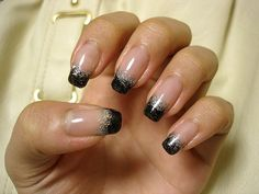 Black and Silver French Tips