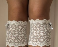 Lace Boot Cuff Socks, Ivory on grey with light grey bow - boot topper - wellies boot cuff , lace leg warmers/ READY TO SHIP
