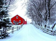 All is calm.  All is bright. farm, dream, snow, winter wonderland, hous, road, winter scenes, red barns, christma