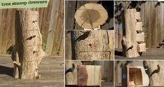 DIY Tree Stump Drawers
