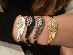 Crystal Angel Wing Macrame Bracelet by PennyChicDesigns on Etsy