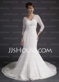 Sheath/Column V-neck Court Train Satin Wedding Dresses With Beadwork (002011525)