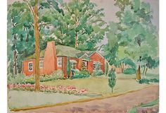 Watercolor painting of a lovely home and garden. Unsigned, unframed.