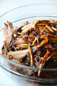 {Slow cooker balsamic honey pulled pork.}