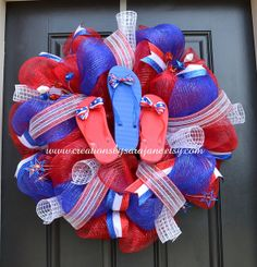 Patriotic Flip Flop Wreath - 4th of July Mesh Wreath - Red White and Blue Mesh Wreath